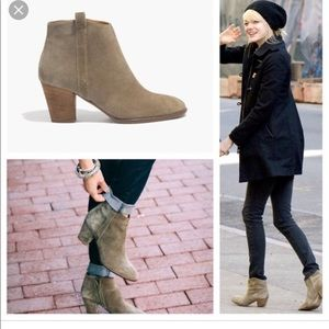 ⭐️Madewell olive green suede booties